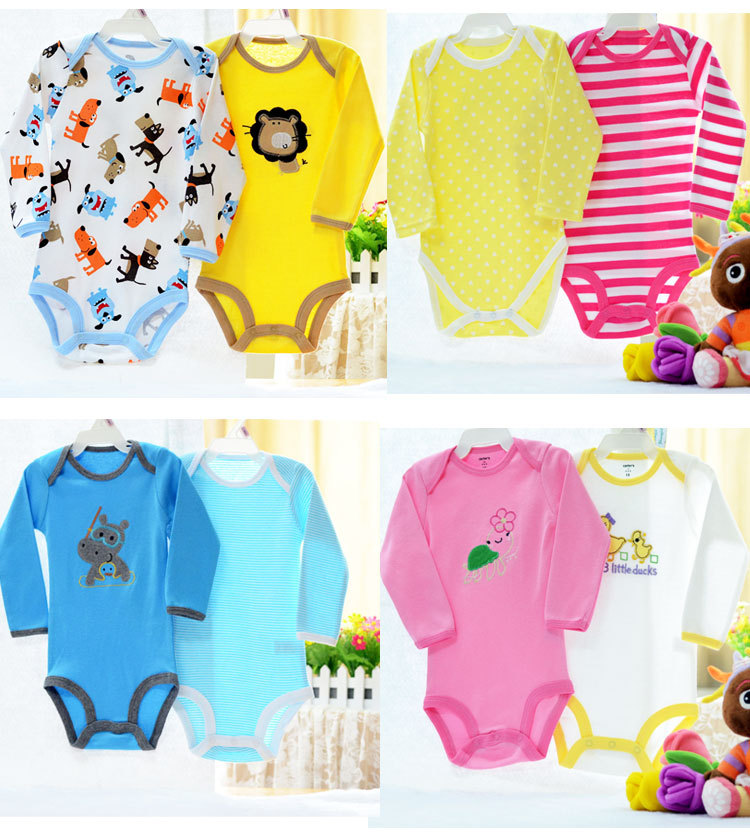 Retail 5pcs pack 0 2yrs long Sleeved Baby Infant cartoon bodysuits for boys girls jumpsuits Clothing