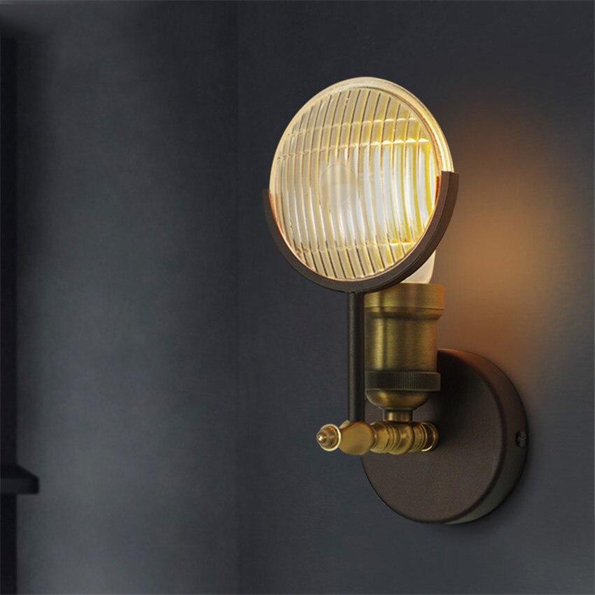 US $51.52 12% di SCONTO|Retro Loft Edison Lampada Da Parete Camera Da Letto  Vecchia Auto Applique Da Parete design per la casa up imbottiture rustico  ...
