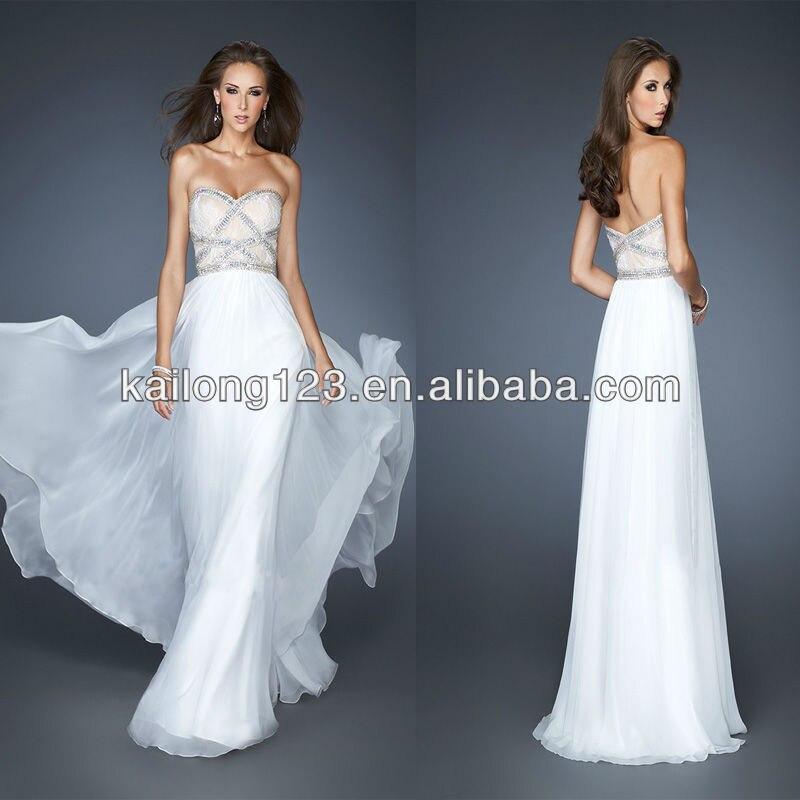 White Long Flowy Wedding Dresses