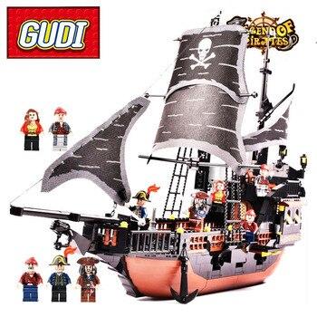 AIBOULLY 9108 9109 9112 9115 GUDI Korsanlar Gemi 652 adet Tuğla Siyah Inci Yapı Taşları Setleri Yılbaşı Hediyeleri Oyuncaklar Için çocuk