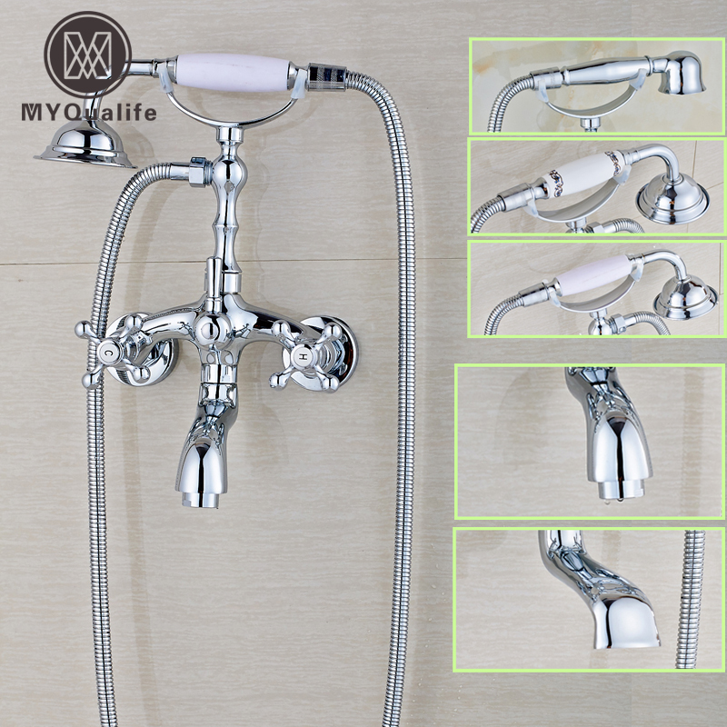 Polished Chrome Bathroom Dual Handle Bathtub Sink Faucet Wall Mounted Telephone Style Tub Mixer Taps with Hand Shower купить в Москве 2019