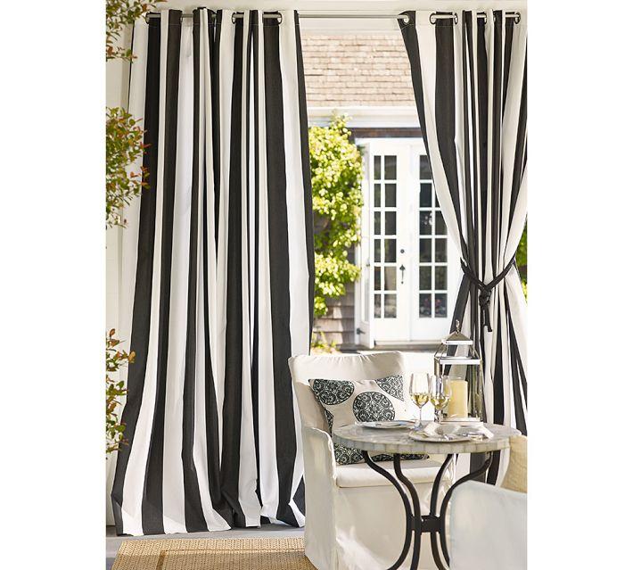 Moderne style épais cavas noir et blanc bande verticale rideau pour ...
