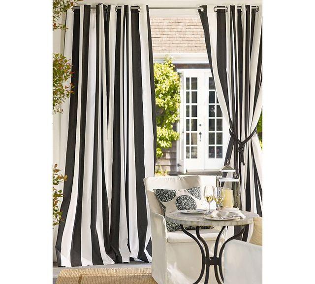 Style moderne épais toile noir et blanc à rayures verticales rideau ...