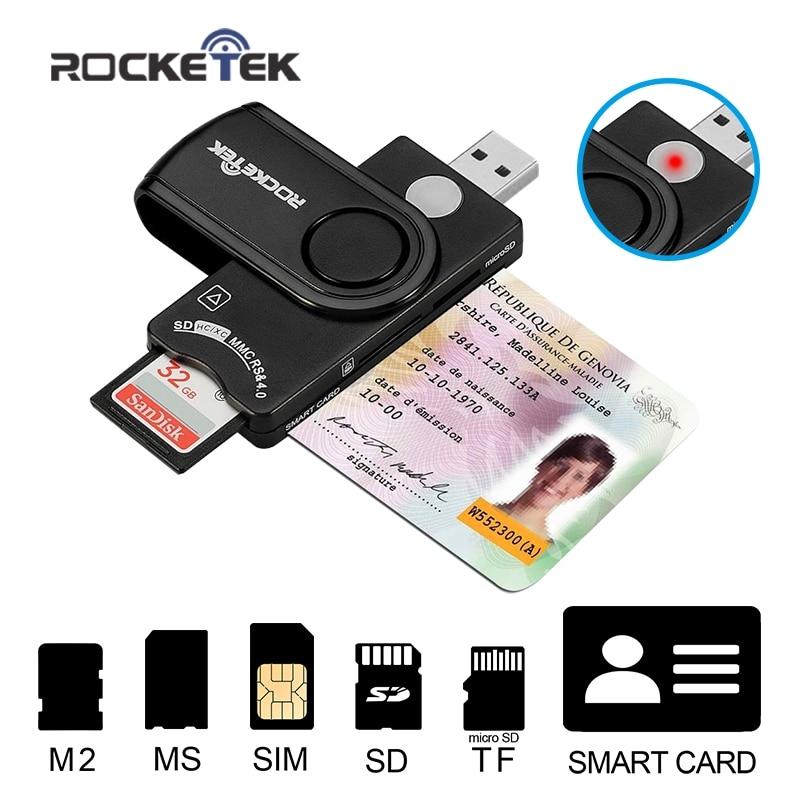 Rocketek USB 2,0 multi lector de tarjeta inteligente SD/TF MS M2 micro SD de memoria de banco tarjeta de clonador sim Adaptador de conector de la computadora de la pc