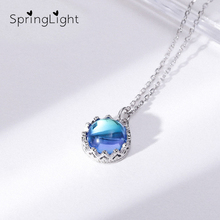 SpringLight Aurora Pendant Blue Halo Crystal Gemstone Necklace Real 925 Sterling Silver Fine Jewelry Gift for Women Wedding