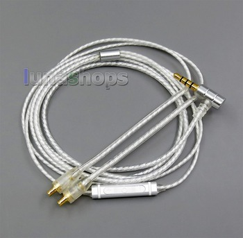 LN006034 Shielding Mic Remote Pure Silver Plated Earphone Cable For Audio-Technica ATH-LS50 E40 50 HDC313A CKR90 CKS1100 A2DC