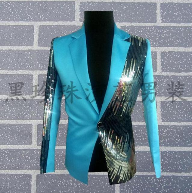Sky Blue Gradient Men Suits Designs Stage Costumes For Singers Men Sequin Blazer Dance Clothes Jacket Star Style Dress Punk