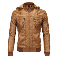 Hooded Leather Jacket Men jaqueta de couro masculina Men's Thick PU leather Coat Men Winter Faux Fur Fleece Jackets for Male