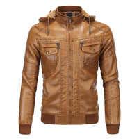 Jaqueta de couro com capuz masculino casaco de couro grosso do plutônio dos homens casacos de lã de pele do falso do inverno para o sexo masculino
