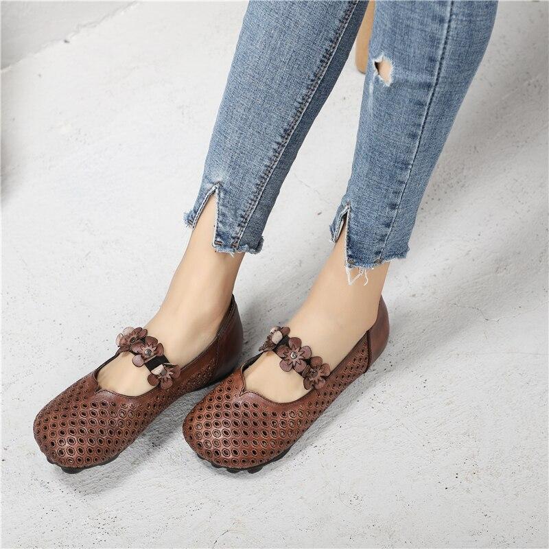 Hueco Dulce Chica Genuino Retro gris Mano 2019 A Flor Zapatos Brown Cuero Pisos Verano Mujeres Mocasines Para De Hechos Gris Las qZvXwxPg