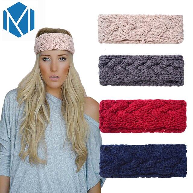 M MISM nuevas mujeres invierno tejer turbante sólido cálido ganchillo banda  lana de punto Stretch torcedura 0bc8f9beb85