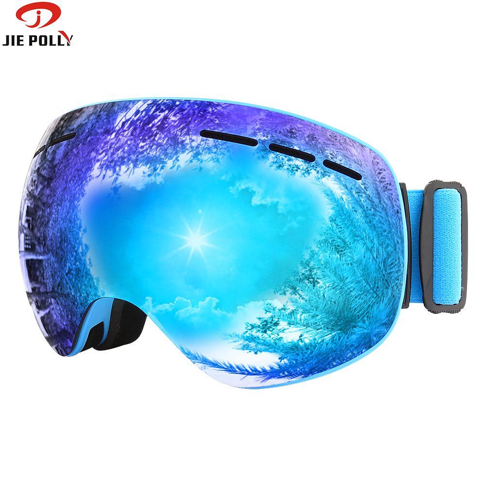 Aimant Ski Lunettes jiepolly Marque Anti-brouillard sphérique grand Ski Masque Visage Lunettes Snowboard Patinage Lunettes pour Hommes femmes