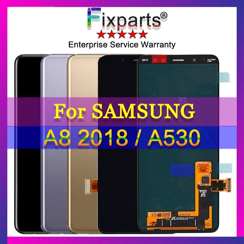 Garantía probado pantalla para 5,6 Galaxy samsung A530 LCD pantalla táctil digitizador asamblea para samsung pantalla A8 2018 reemplazo