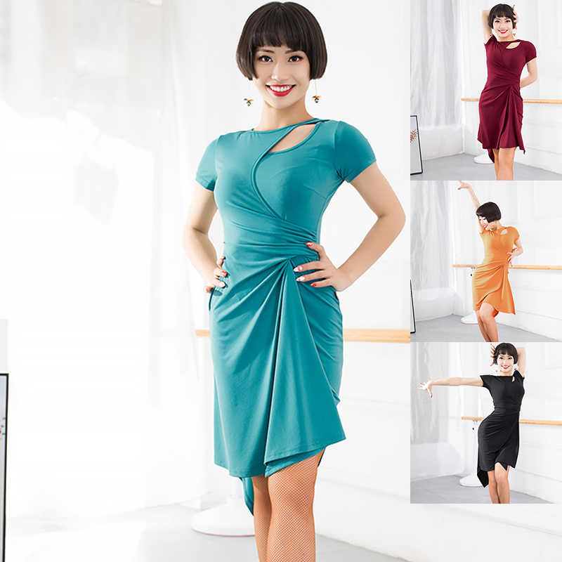 538e5d35dfa1e 2018 Latin Dance Dress Women Short Sleeve Dresses Women Professional Cha  Cha/Rumba/Samba