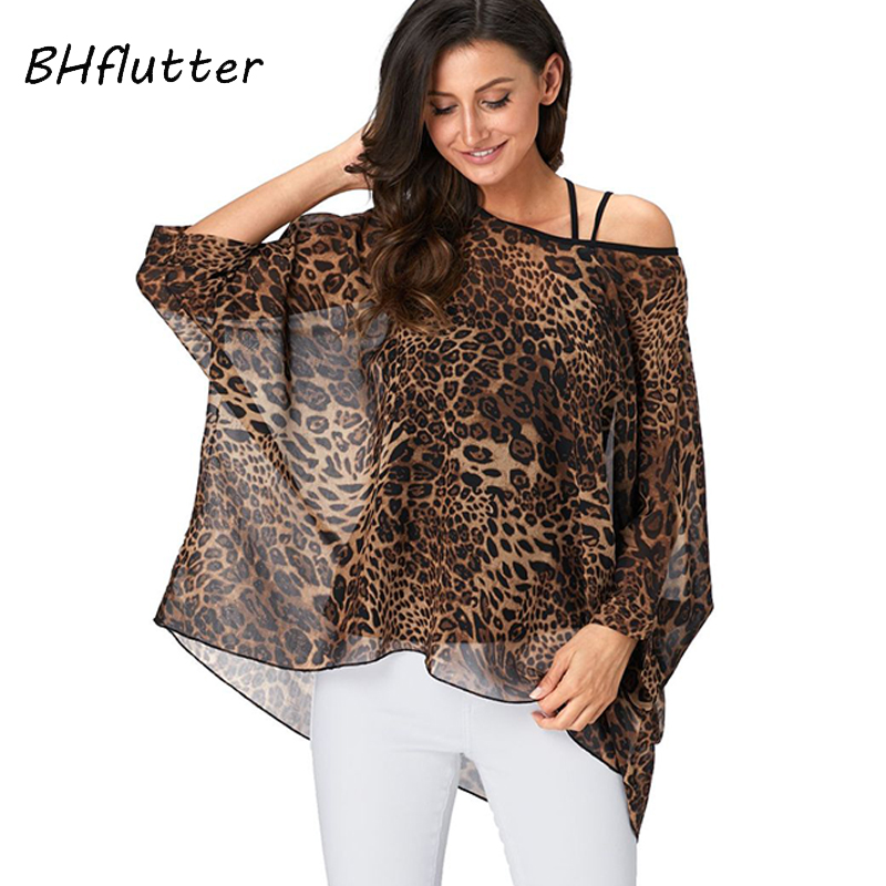 BHflutter 4XL 5XL 6XL Plus Size Women Blouse 2019 Sexy Off Shoulder Leopard Print Summer Tops Tees Casual Chiffon Blouses Shirts
