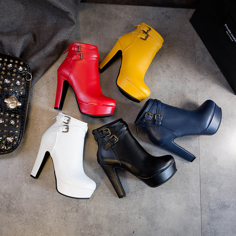 Image 3 - Plus Size 48 New Fashion Women's Boots Sexy High Heels Platform Ankle Boots For Women Black Red Yellow White Heels Shoes Ladies-in Ankle Boots from Shoes