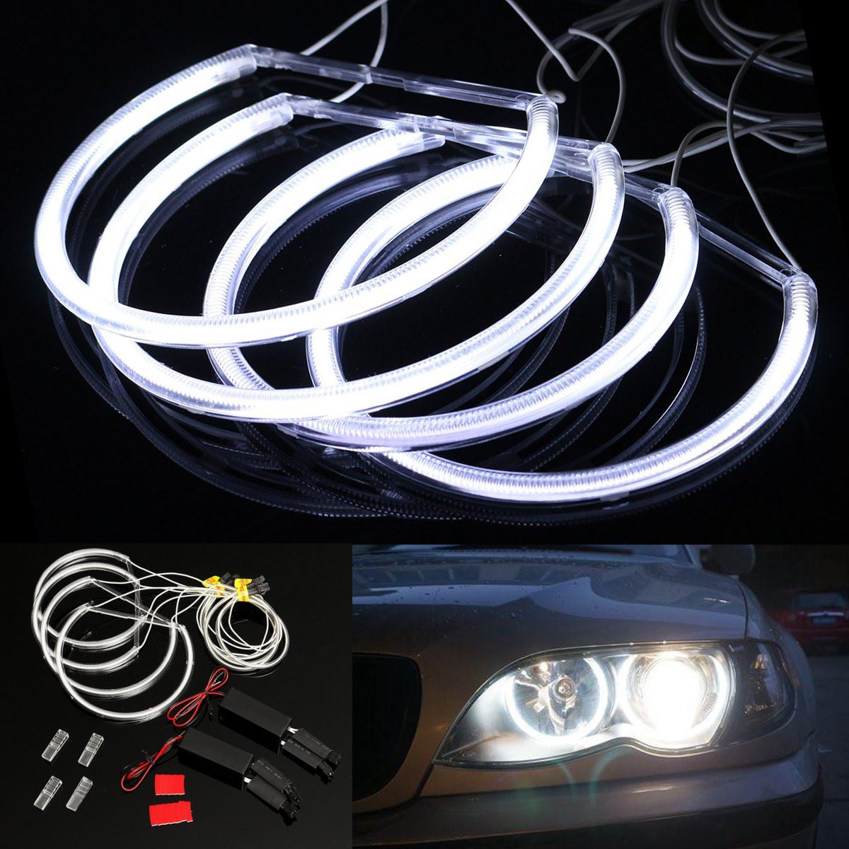 New Car Ccfl Led Angel Eye Headlights Led Chip Car Light