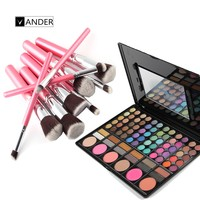 Professional 10pcs Kits Makeup Brushes Set 78 Colors Eyeshadow Palette Highlighting And Liner Shade Styling Tools