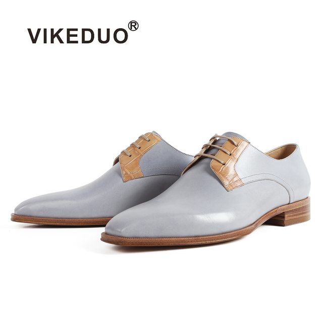 VIKEDUO Square Toe Genuine Leather Shoes Men Formal Wedding Office Derby Shoe Lace-Up Blake Men's Dress Shoes Flat Zapato Hombre