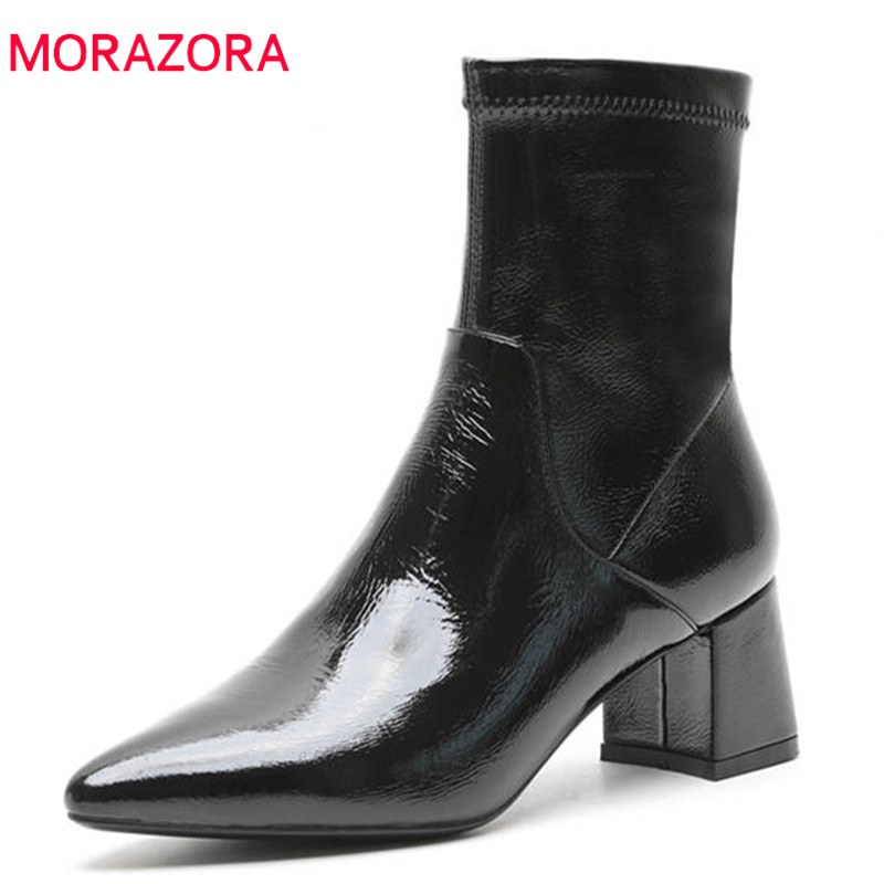 MORAZORA 2018 new arrival genuine leather ankle boots women pointed toe autumn winter boots simple zip high heels shoes woman MORAZORA 2018 new arrival genuine leather ankle boots women pointed toe autumn winter boots simple zip high heels shoes woman