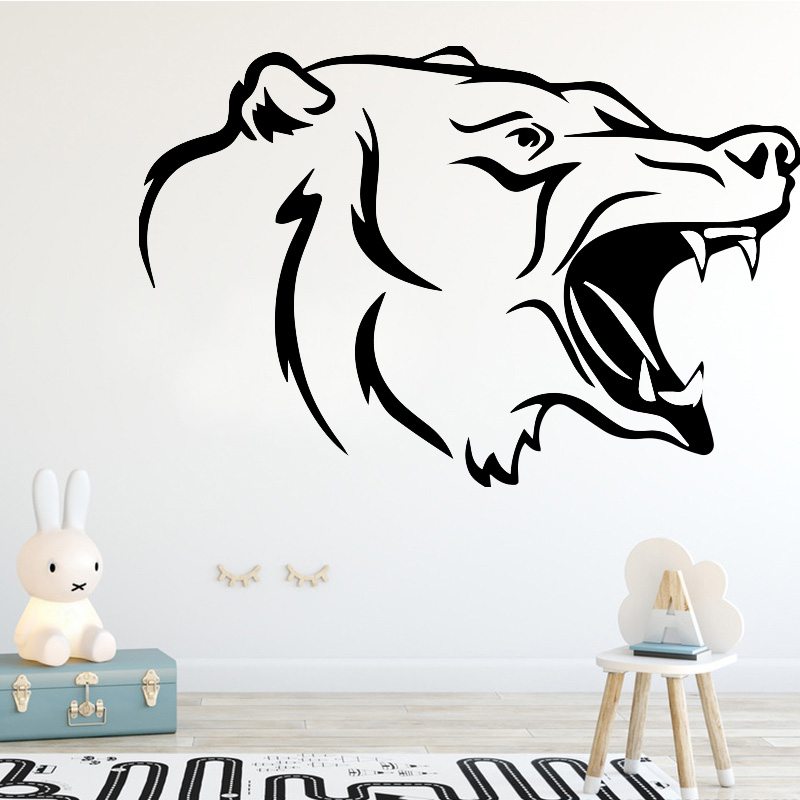 Creative Wolf Pattern Aggressive Animal Wall Sticker for Boys Room Bedroom Decoraiton Accessories Wall Decal Funny Vinyl Mural