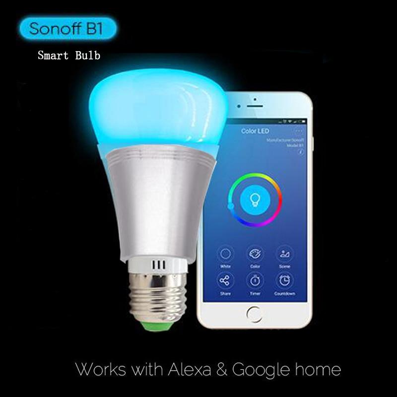 Sonoff B1 디 밍이 가능한 램프 RGB 색상 스마트 Wiif E27 LED 전구 원격 ON / OFF 스마트 홈 자동화 모듈 와이파이 비아 전화를 통해