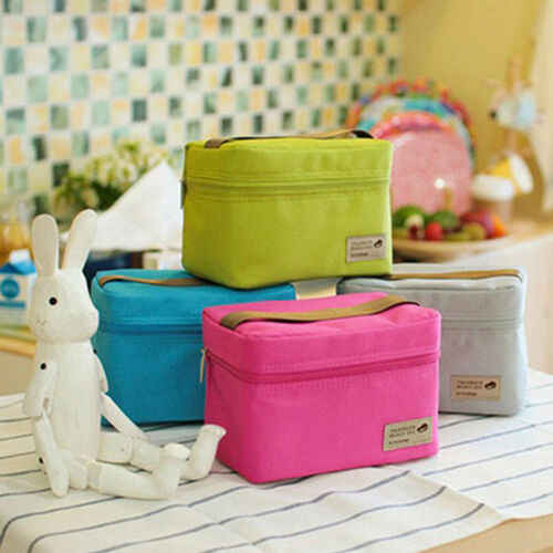 Portable Thermal Insulated Dinner Lunch Box Storage Bag Solid Green Waterproof  Picnic Carry Tote Food Storage Bags Boxes