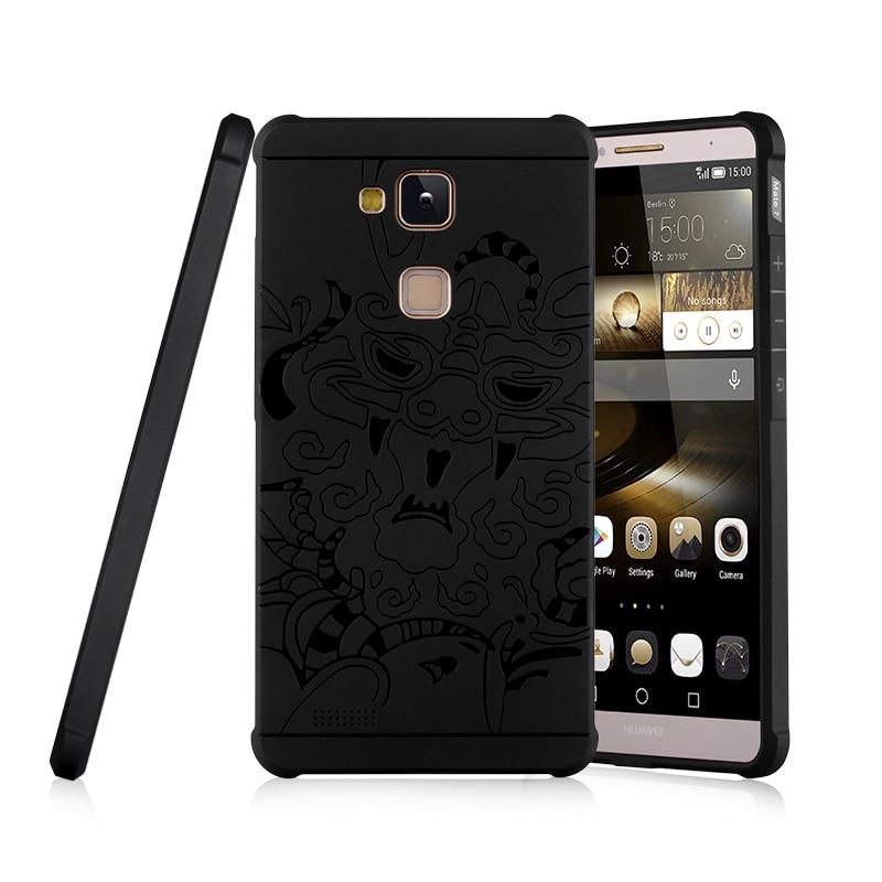 3D Relief TPU Cas pour Huawei Ascend Compagnon 7 Mate7 MT7-TL00 MT7-TL10 MT7-L09 Case Phone Housse pour Huawei MT7 TL00 TL10 L09