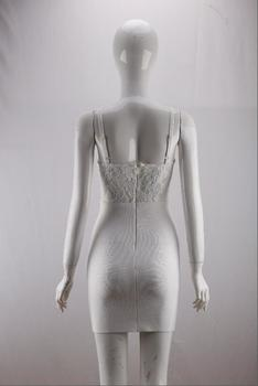 Free Shipping Summer Fashion Sexy V Neck Strap White Lace Bandage Dress 2020 Designer Elegant Evening Party Dress Vestido 5