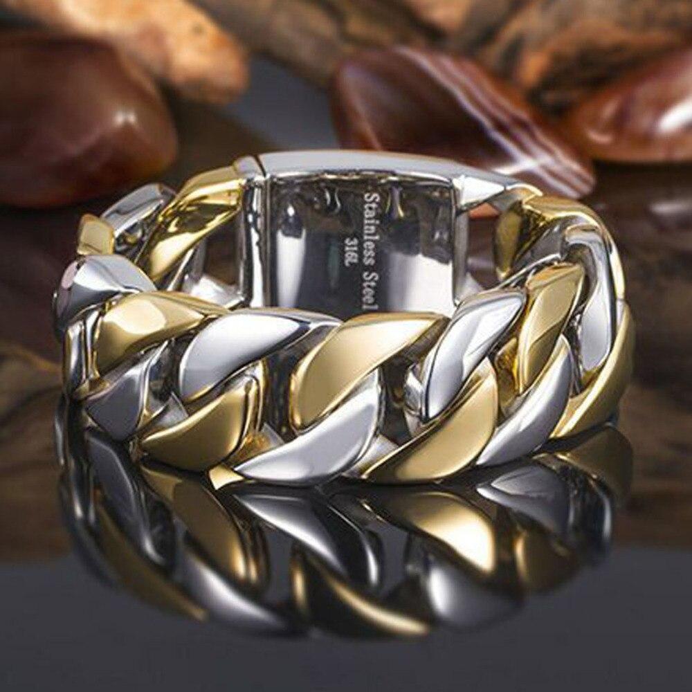 Bracelet à chaîne large cubaine en acier inoxydable avec ton or argent pour hommes 31mm9