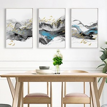 New Chinese Style Poster Abstract Blue Ink Bird Landscape Decoration Picture Framed Canvas Painting Living Room Wall Art Picture folk custom ancient modern minimalist new chinese ink flower landscape abstract canvas painting for living room wall art poster