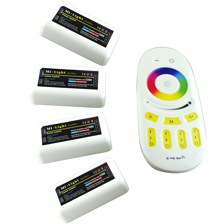 2.4G 4-Zone 1 RF touch Remote + 4 Controller Mi light RGB RGBW LED Controller group control For RGB RGBW Led Strip Light milight remote wifi 4x rgbw led controller group control 2 4g 4 zone wireless rf touch for 5050 3528 rgbw led strip light