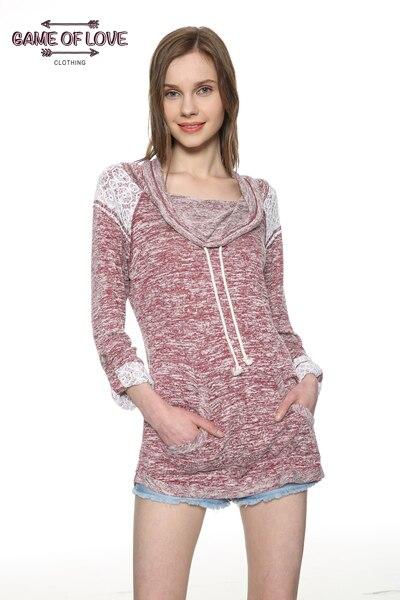 Game Of Love Women Cowl Neck Sweatshirt Long Knit Raglan Sleeve/Pocket Overlay