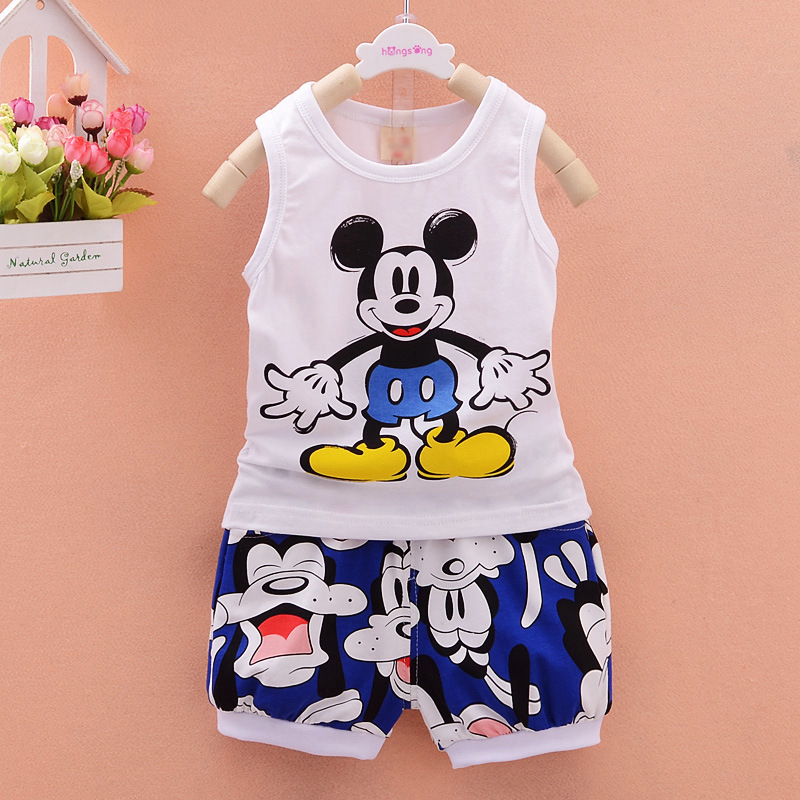 Baby Boy Summer Clothes 2019 Korean Cartoon Sleeveless Tops Vest + Shorts 2PCS Infant Clothing Outfits Kids Bebes Jogging Suits