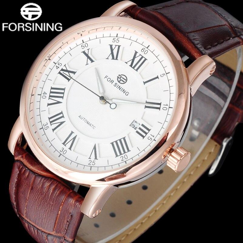 daf8c6e3398 Homens Da Moda Da Marca FORSINING Relógio Mecânico Homens Automáticos Relógios  Pulseira De Couro Ocasional Do Vintage Roma Número Dial Calendário Relógio