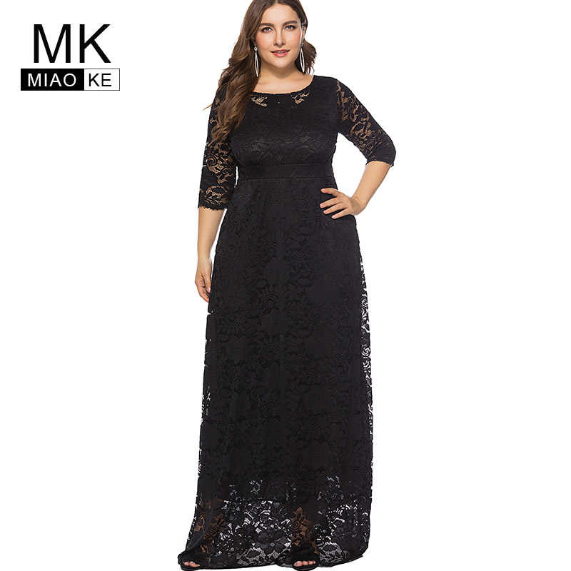 Miaoke Plus Size Red Maxi Lace Dress Women Clothing 2018 High Quality  Fashion Vintage Sexy Club 523b802789b7