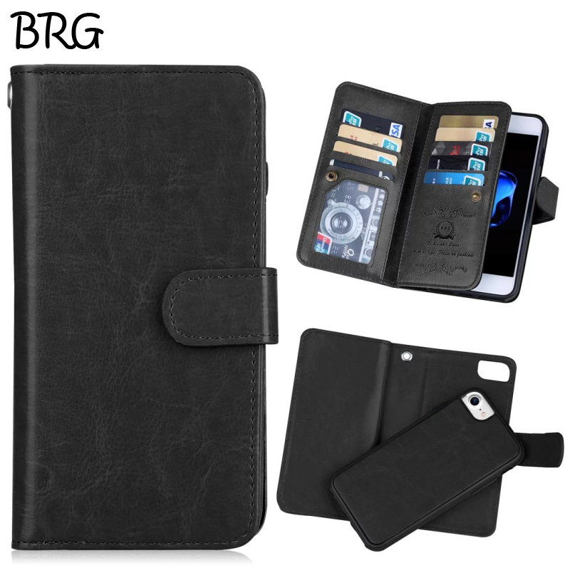 BRG popular Wallet Mobile Phone bags For iPhone 5 6 7 6plus Fold 2 in 1 Magnetic Hard Case with Card holder Photo Frame