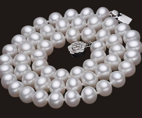 Hot sale new Style >>>>>Handmade real pearl necklaces Silver Flower Natural pearl AAA 7-8mm pearl Woman