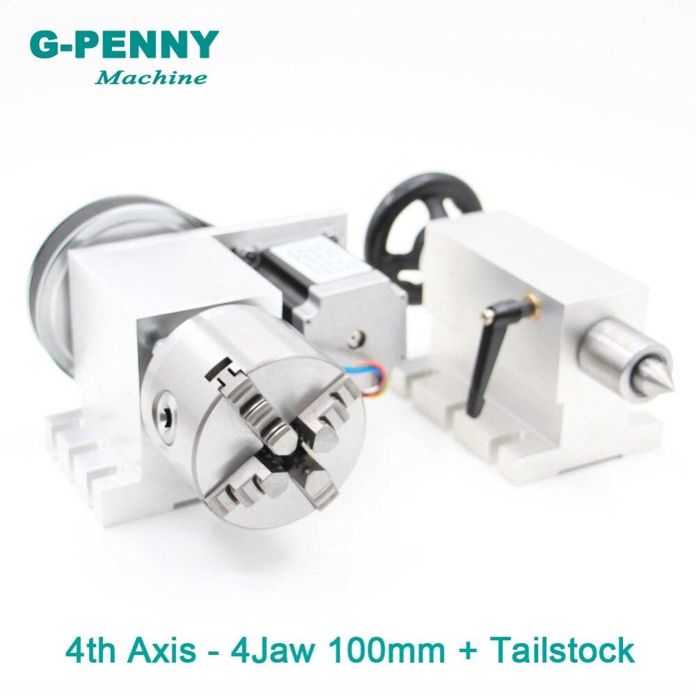 100mm 4 Jaw CNC 4th Axe + Poupée CNC tête de division/Rotation Axe/Un axe kit pour mini CNC routeur/graveur de gravure du bois