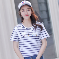 LEQEMAO Brand Women T Shirts 2018 New Cute Stripe Short Sleeve O Neck T Shirt Woman