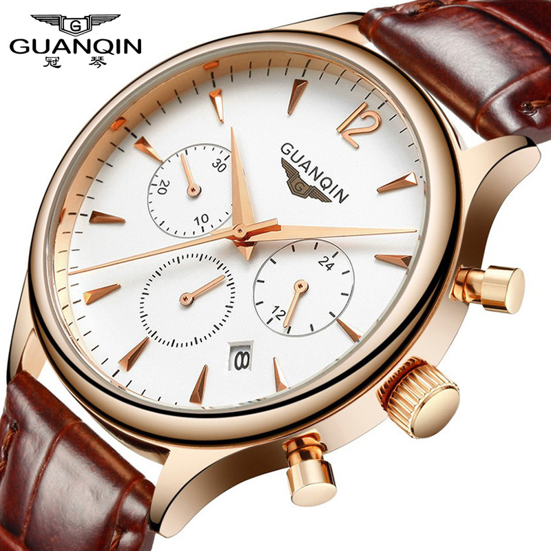 Relogio Masculino Fashion Men Watch Sport Chronograph Clock Mens Watches Top Brand Luxury GUANQIN Leather Strap Quartz Watch 2017 mens watches top brand guanqin leather strap casual watches simple ultra thin men quartz watch male clock relogio masculino