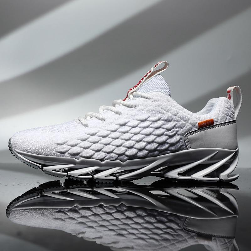Hemmyi Mens Sneakers Blade Rubber Sole Flyknit Breathable Outdoor Male Footwear Lace up Tenis Masculino Adulto