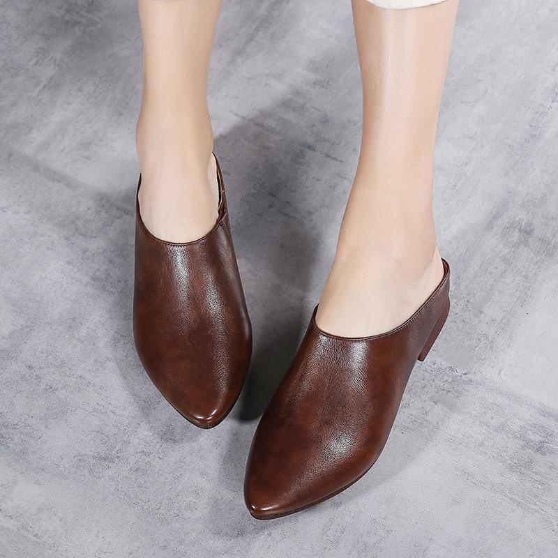 Tyawkiho Women Leather Mules 2018 Pointed Toe Summer Shoes Slip On Gray Genuine Leather Slipper Retro Handmade Women Slippers