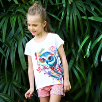 2017 Estate Teenage Girl magliette Coreano Moda Cartoon Owl T-Shirt In Cotone Supera i t Per 5 6 7 8 9 10 11 12 Anni abbigliamento