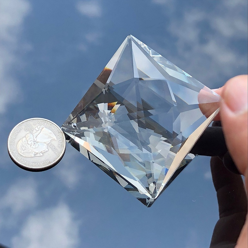 75MM Square Crystal Chandelier Top Drilled  Lamp Prism Parts Drop DIY Pendant Decor Suncatcher Haning Ornament