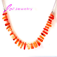 DIY Crystal Pendant Orange Agate Rock Silver Necklaces Handmade Jewelry