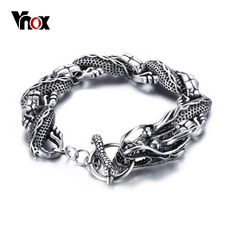Vnox Vintage Dragon Bracelet En Acier Inoxydable Chaîne Punk Hommes Bijoux 8.3 Haute Qualité