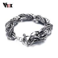 Vnox Chinese Dragon Cool Bracelet Men Stainless Steel Bracelets Bangles Fashion Punk Bijoux Jewelry