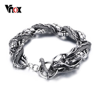 Vnox Chinese Dragon Cool Bracelet Men Stainless Steel Bracelets Bangles Fashion Punk Bijoux Jewelry