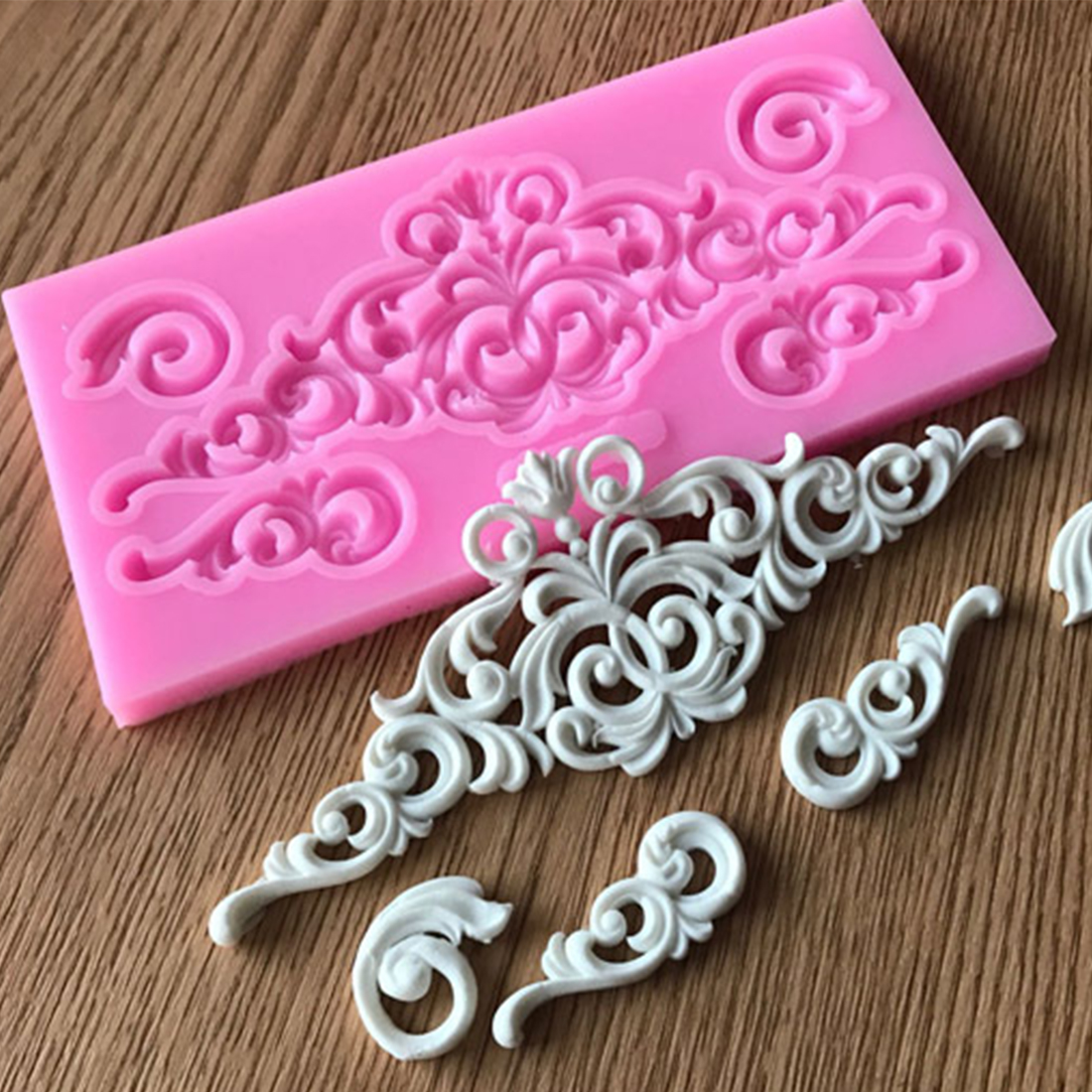 Hot Sale  DIY Sugar craft Cake Vintage Relief Border Silicone Mold Fondant Mold Cake decorating Tools Gum paste Mold(China)